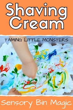 Shaving cream and food coloring is a magical sensory bin activity for kids. Develop baby, toddler, and preschooler fine motor skills with this messy play idea from Taming Little Monsters. Toddler Messy Play, Toddler Sensory Bins, Baby Sensory Play, Toddler Preschool, Baby Messy Play Ideas, Baby Play, Toddler Crafts, Fine Motor Activities For Kids, Sensory Activities Toddlers