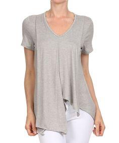 Look what I found on #zulily! One Fashion Gray Asymmetrical V-Neck Top by One Fashion #zulilyfinds
