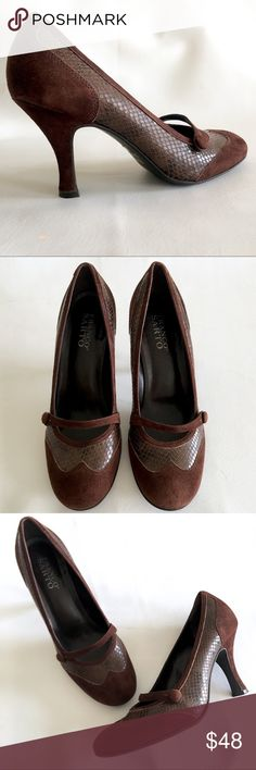 Franco Sarto Suede & Snakeskin Wing Tip Pumps Franco Sarto Genuine Brown Suede Leather & Genuine Snakeskin Textured Leather Side Button Mary Jane Full Brogues Wing Tip Pumps.   I'm great condition, has normal wear marks on the bottom and around heel. Inside sole is in good clean condition.   Size: 7.5 M  Made in Brazil   Retail: $119 Franco Sarto Shoes Heels