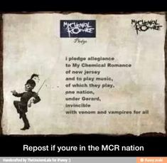 I pledge allegiance to My Chemical Romance because we will carry on even when the band does not