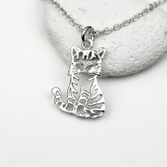 Sterling Silver Cat Necklace by JewelleryByZM on Etsy