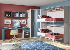 litera plegable, armario rinconero y amplia zona de estudio en este espacioso dormitorio www.moblestatat.com horta guinardó barcelona