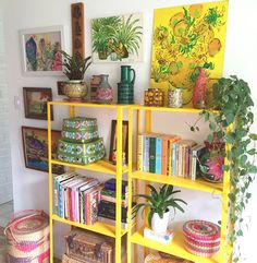 bright boho bookshelves, plants and botanical prints