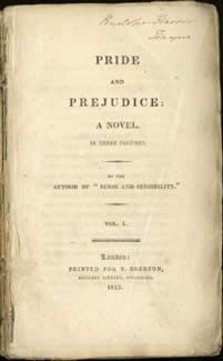 First edition of Pride and Prejudice, published in 1812