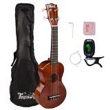 Trendy Traditional and Painted Economy Hawaiian Soprano Ukulele Starter Pack, 21 Inch Standard Model, Brown - http://tonysgifts.net/trendy-traditional-and-painted-economy-hawaiian-soprano-ukulele-starter-pack-21-inch-standard-model-brown/