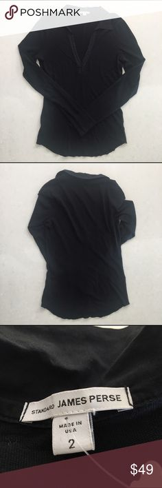 James Perse Deep V-Neck Long-sleeve Black Shirt -M Thicker than the normal burnout James Perse material.  Size II in Perse sizing which relates to a Medium. James Perse Tops Blouses