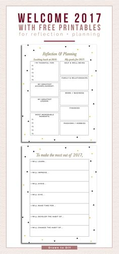 Free 2017 New Year's Resolution Printables @DrawntoDIY {newsletter subscription required}
