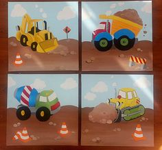 Boy's bedroom - construction theme - Set of 4 Construction Vehicle Paintings by Leilasartcorner