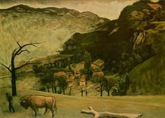 Balthus, Landscape with Oxen, 1942, oil on canvas, 100 x 72 cm, Private Collection.