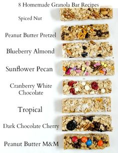 8 Easy Homemade Granola Bar Recipes You Should Try TODAY The base recipe for 8 easy homemade granola bar recipes that come together in a snap. Variations include peanut butter chocolate, spiced nut, and cranberry white chocolate. Granola Bar Recipe Easy, Healthy Granola Bars, Homemade Granola Bars, Homemade Breakfast Bars, Quaker Oats Granola Recipe, Granola Bar Recipes, Homemade Energy Bars, Breakfast Bars Healthy, Healthy Bars