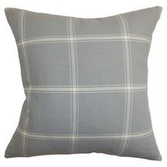 """Cotton pillow with a plaid motif and feather-down insert.  Product: PillowConstruction Material: Cotton cover and feather down fillColor: Grey and whiteFeatures:  Insert includedHidden zipper closureMade in the USA Dimensions: 18"""" x 18""""Cleaning and Care: Spot clean"""