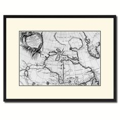 North East Canada & Greenland Vintage B&W Map Canvas Print, Picture Frame Home Decor Wall Art Gift Ideas