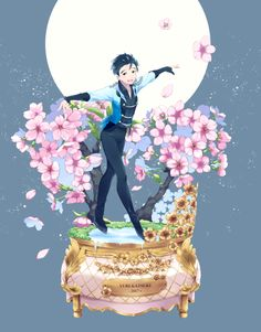 Artist/credit: ~ ノ@ on danbooru Yuri On Ice Fanart, Anime Guys, Manga Anime, Yuuri Katsuki, Ice Art, ユーリ!!! On Ice, Yuri Plisetsky, Ice Skaters, Kpop Fanart