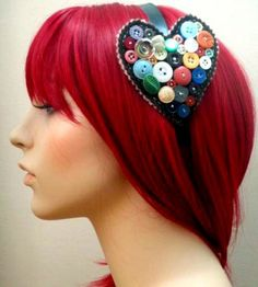 button headband, cute! i wish i had the cajones to dye my hair this color..