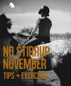 No Stirrup November - new tips & exercises each week in November! http://www.seehorsedesign.com/fit-for-the-saddle-no-stirrup-november/