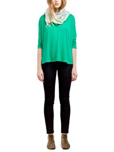 Emerald Orly Henley T-Shirt + Skinny Black Jeans | Aritzia