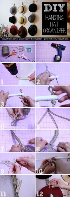 #DIY Hanging Hat Organizer - Step by Step (in pictures) | beautybitten.com