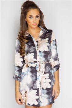 Megan McKenna Floral Belted Shirt Dress