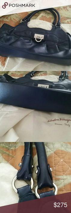 Salvatore ferragamo handbag. Marissa. Navy blue Beautiful condition. No wear scuffs .m Salvatore Ferragamo Bags Satchels