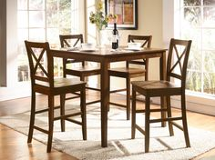 The Acme Furniture Martha 5 Piece Counter Height Dining Table Set provides you with a perfect set of table and seating to make your country-style kitchen. Small Dining Table Set, Breakfast Nook Dining Set, Solid Wood Dining Set, Pub Table Sets, Dining Room Sets, Dining Tables, Breakfast Set, Kitchen Tables, Counter Height Pub Table