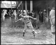 Chicago Cub and Hall of Famer Frank Chance warming up at West Side Park in 1908.