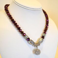 Aubergine Purple Faceted Shimmer Crystal Beaded by IcedpinK, $15.99