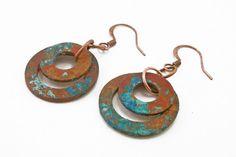 Copper Washer Earrings Hardware Jewelry by LittleMissHaywire, $18.00