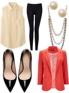 Black skinnys, pointed toe black pumps, white blouse, red/coral blazer/cardigan