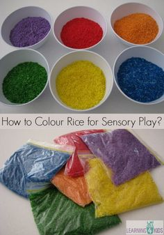 How to colour rice for sensory play - a simple and quick step by step guide with photos Nursery Activities, Color Activities, Infant Activities, Preschool Activities, Family Activities, Indoor Activities, Summer Activities, Sensory Art, Sensory Tubs