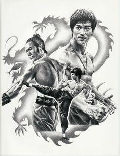 Bruce Lee Montage Original Sketch Art Poster Print by Innerwallz, $15.00