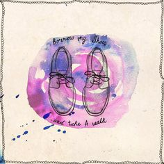 Walk in My Shoes - ink, watercolour & collage illustration print on archival paper. $23.48, via Etsy.