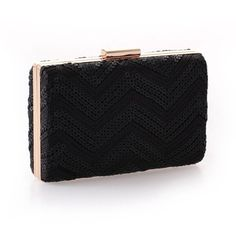 Black Sequin & Lace Hard Box Cocktail Clutch Purse ($20) ❤ liked on Polyvore featuring bags, handbags, clutches, lace handbag, special occasion handbags, lace clutches, sequin purse and sequin handbags