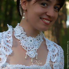 Мастер-класс по вязанию украшение для выпускного бала или другого торжественного случая. #irishlace #crochet #lace #necklace