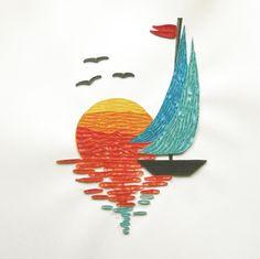 "Képtalálat a következőre: ""quilling boat"" Arte Quilling, Paper Quilling Patterns, Quilled Paper Art, Quilling Paper Craft, Paper Crafts, Quilled Creations, Quilling Techniques, Paper Artwork, Kirigami"