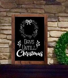 Christmas Countdown Chalkboard Sign, Advent Calendar by JoyfulHouseCreations on Etsy Days Till Christmas, Christmas Countdown, Christmas Signs, Christmas Decorations, Etsy Christmas, Christmas Heaven, Christmas Ideas, Christmas Goodies, Christmas Ornament