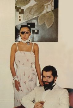 Marie Helvin and Karl Lagerfeld by David Bailey, 1975.