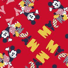 Mickey Pattern Fill Name Cotton FabricMickey Pattern Fill Name Cotton Fabric,