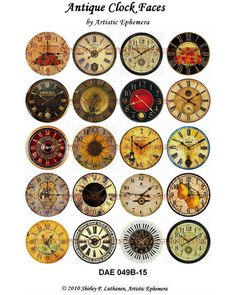 DAE049B Antique Clock Faces II - Digital Collage Sheets - Printable PDFs - You Choose 1.5 or 1 Inchies or 7/8 or 3/4. $4.50, via Etsy.