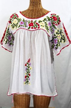 ... Traditional Mexican Embroidered Shirt Floral Top Blouse Handmade White  Gypsy Hippie Ethnic Peasant Boho Blue Red ...