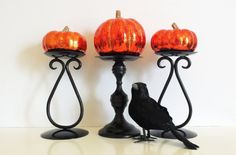 Black Candle Holders // Halloween Autumn Decor by CurrentClassic, $24.00