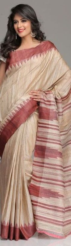 hand woven tussar silk saree with temple motifs