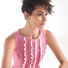 Women's Linen Sleeveless Pleated Frill Shirt #womensfashion #womensshirt #girlsshirt #naracamicie #nara #style #fashion #photooftheday #beautiful #picoftheday #style #pretty  #beauty #hot #cool #girls