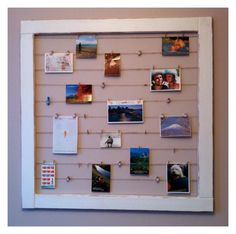 A display board I made from 4 pieces of wood that I later painted, tiny clothespins, and jute rope.