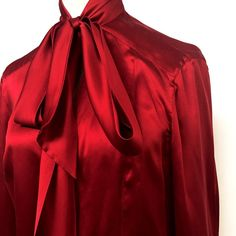 HOLIDAY READY ESCADA SILK RED BLOUSE 36 US S Exquisite silk top with deep v and tie bow neckline. Bottons front and on exaggerated cuffs. Worn once. RETAIL$725 Escada Tops Blouses