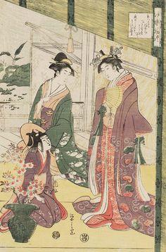 Ise Monogatari, ukiyo-e woodblock print, 1793, Japan.  Artist Chobunsai Eishi
