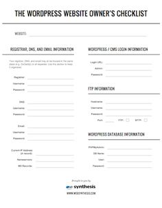 The WordPress Website Owner's Emergency Checklist {I need to print and fill this out!}