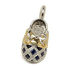 Aaron Basha:18k white gold two tone baby shoe with pave saddle and blue sapphires on toe