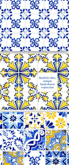 32 Portuguese Tiles digital papers with antique Azulejo mosaic patterns. Hand painted watercolor turned into realistic wallpapers for your printable scrapbook papers, dollhouse miniatures, and craft projects! Created from original watercolor paintings. Ready for printing. Size 12'' x 12'' inches (3600 x 3600 px). 300 dpi. Watercolor Texture, Watercolor Paintings, Handmade Diary, Printable Scrapbook Paper, Interior Wallpaper, Portuguese Tiles, Antique Tiles, Scrapbook Designs, Digital Papers