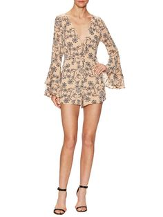 Pia Printed V-Neck Romper by For Love and Lemons at Gilt
