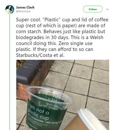 This is really great, but I do hope they're not phasing out plastic entirely because there are a lot of people who are allergic to corn products. << Idk if some allergies are due to the fibers or consumption but true. Hemp plastics also work well. Save Our Earth, Save The Planet, The More You Know, Good To Know, Faith In Humanity Restored, Sustainable Living, Mother Earth, Fun Facts, Random Facts